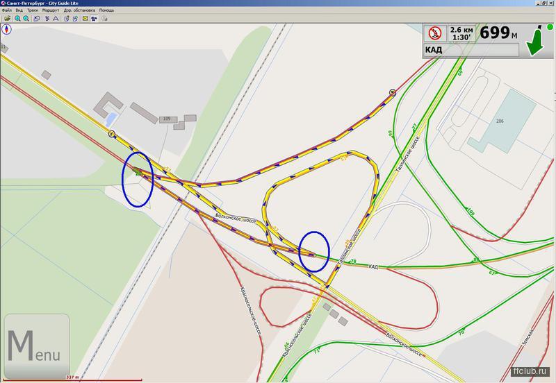 13 Ноября 2010 - 12:11.  Поизмывался над новой картой :D - развязка КАДа и Таллинского шоссе: (IMG.