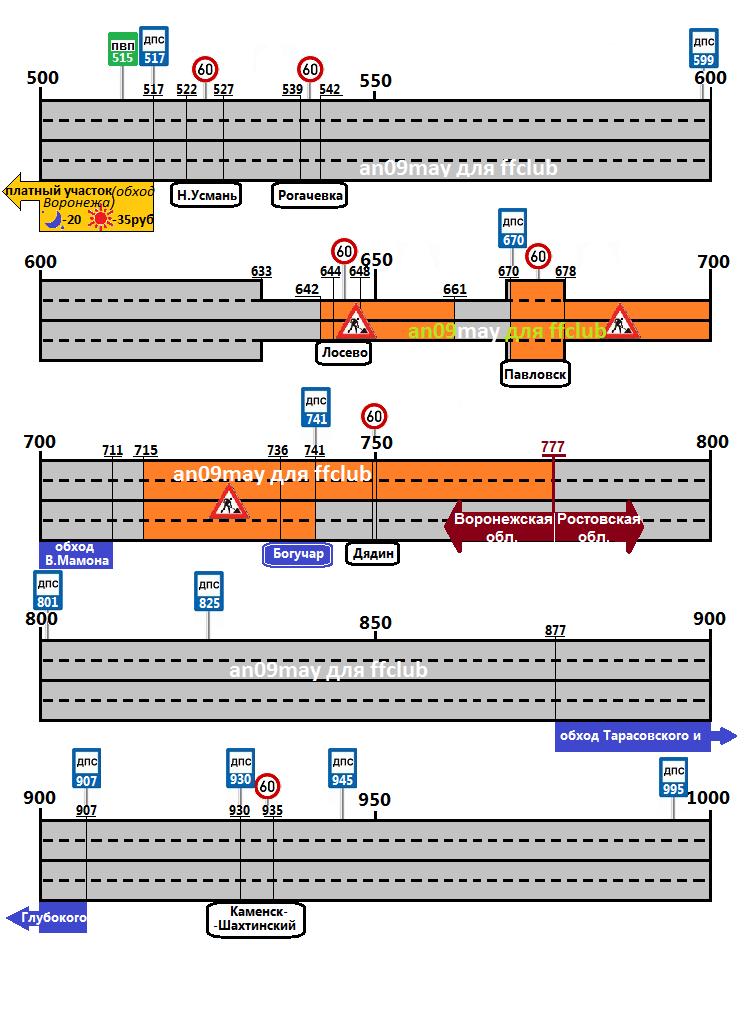 Атлас и карта схема трассы м-4