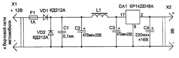 Фильтр с дросселем и диодами. схема. фильтра для авто.